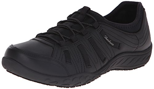 Skechers Work Women's Bungee Slip Resistant Lace-Up Sneaker, Black, 7.5 M (Skechers Leather Lace Up Sneakers)