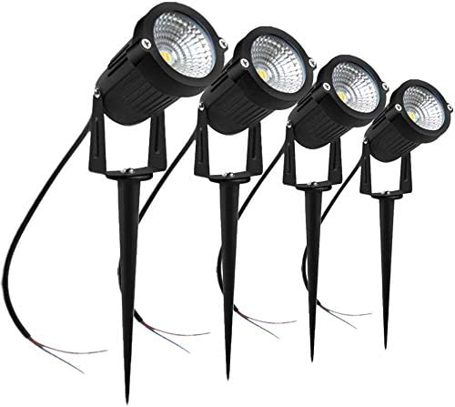 5W LED Landscape Lights, Low Voltage Outdoor Spotlight DC 12V 24V, 600LM Warm White 3000K, IP65 Waterproof LED Spotlight With Spike Stand For Driveway, Yard, Lawn, Patio, Outdoor Garden Lights, 4-Pack