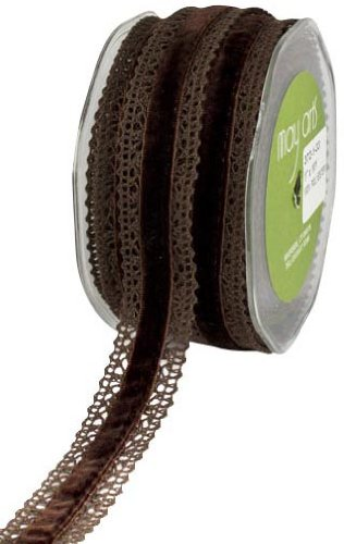 - May Arts 1-Inch Wide Ribbon, Brown Crochet with Brown Velvet