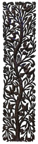 Le Primitif Galleries Haitian Recycled Steel Oil Drum Outdoor Decor, 72 by 14-Inch, Limited Edition Tree of Life No. 2
