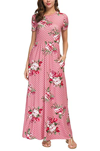 (Zattcas Womens Long Dresses Floral Printed Summer Casual Beach Long Maxi Dress (XX-Large,Rose with Polka)