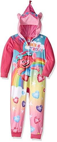 Trolls Little Girls' Hooded Blanket Sleeper, Tally Pink, 4