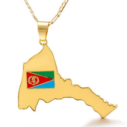 45cm Chain Eritrean Map & Flag Pendant Necklaces 18KGP Pendant Jewelry Africa Map of Eritrea
