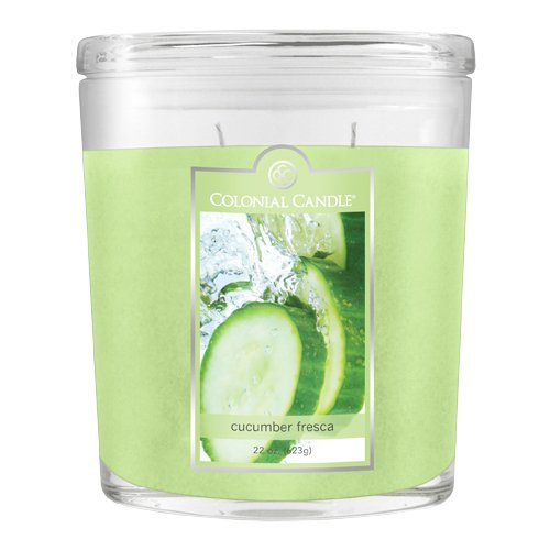 Colonial Candles Wax Candle (Colonial Candle 22-Ounce Scented Oval Jar Candle, Cucumber Fresca)