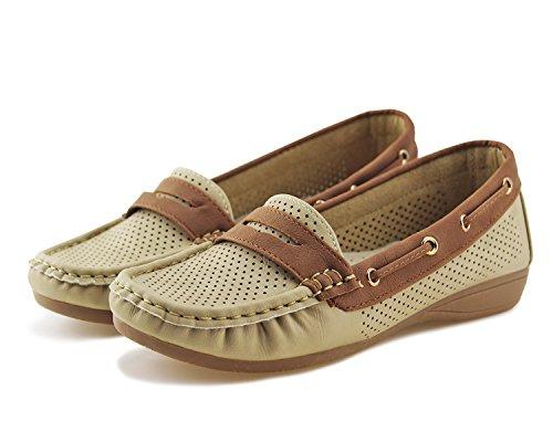 Jabasic Lady Comfort Slip-on Loafers Hollow Driving Flat Shoes(7.5,Beige) by Jabasic (Image #3)