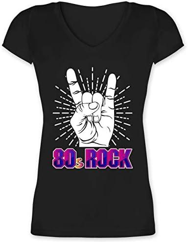 Shirtracer - Nerds & Geeks - 80's Rock - Damski T-shirt z wycięciem V: Shirtracer: Odzież