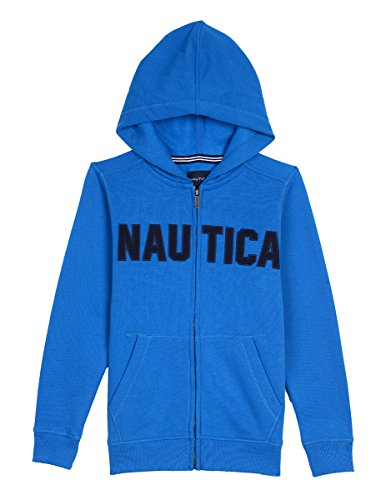 Blue Big Logo Hoodie - Nautica Big Boys' Full Zip Classic Logo Fleece Hoodie, Dark Turquoise, Medium (10/12)