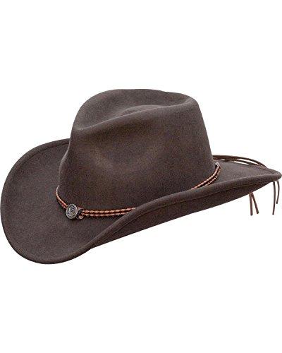 c632620316c Jack Daniels Men s Daniel s Twisted Leather Bend-A-Brim Wool Felt Crushable  Brown Medium