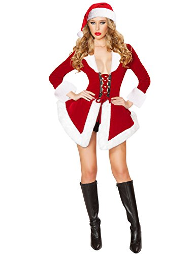 Christmas Outfit Sexy (Quesera Women's Christmas Lingerie Sexy Santa Outfit Dress Velet Corset Costume, Red, 2-8)