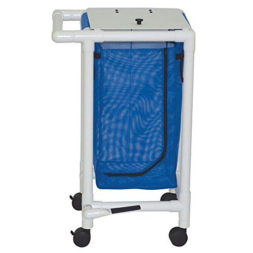 MJM International 214-S-FP Single Hamper with Foot Pedal, 14.46 oz Capacity, Royal Blue/Forest Green/Mauve