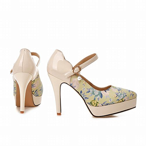 Carolbar Women's New Style Floral High Heel Stiletto Platform Mary Jane Shoes Blue l1qrteQmIK