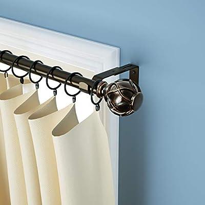 KAMANINA Curtain Rod net Texture/Twisting Cylinder finials/holdbacks