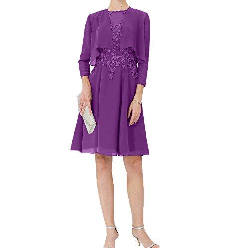 Jaket mit Chiffon Damen Partykleider Charmant Abendkleider Violett Brautmutterkleider Partykleider Knielang Festlichkleider f6SqRg