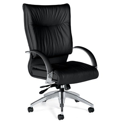 Global Total Office Softcurve Leather Office Chair with High Back and Pneumatic Tilter -