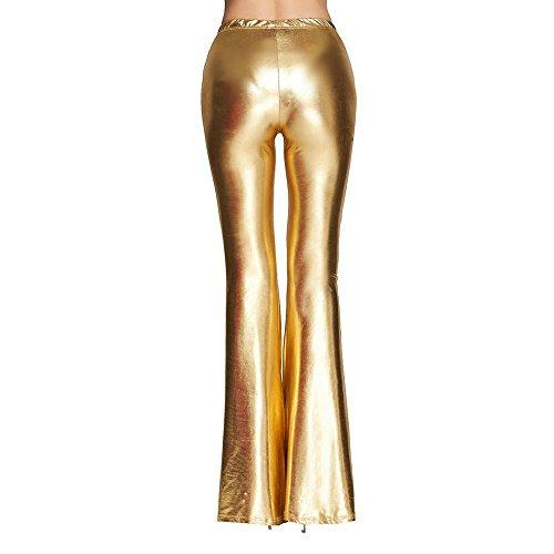 De Cómodos Dorado Fiesta Bootcut Pantalones Pants Cintura Pierna Vintage Moda Acampanados Ancha Mujer Alta Shinny Lentejuelas vdTdRnqwHx