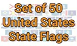 12x18 inch (12x18in) Set of 50 State flag mounted on a 24 inch wooden stick staff (Super Polyester ) cloth Fabric (Sewn Edges for Durability )12''x18'' 12x18