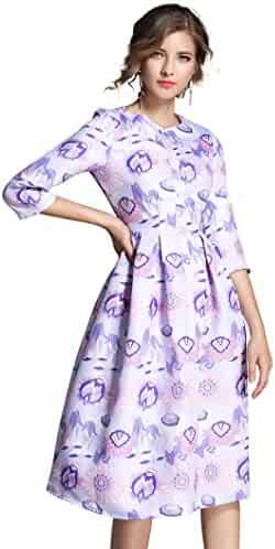 eb803a57b37 LAI MENG FIVE CATS Womens 3 4 Sleeve Round Neck Floral Summer Casual A line