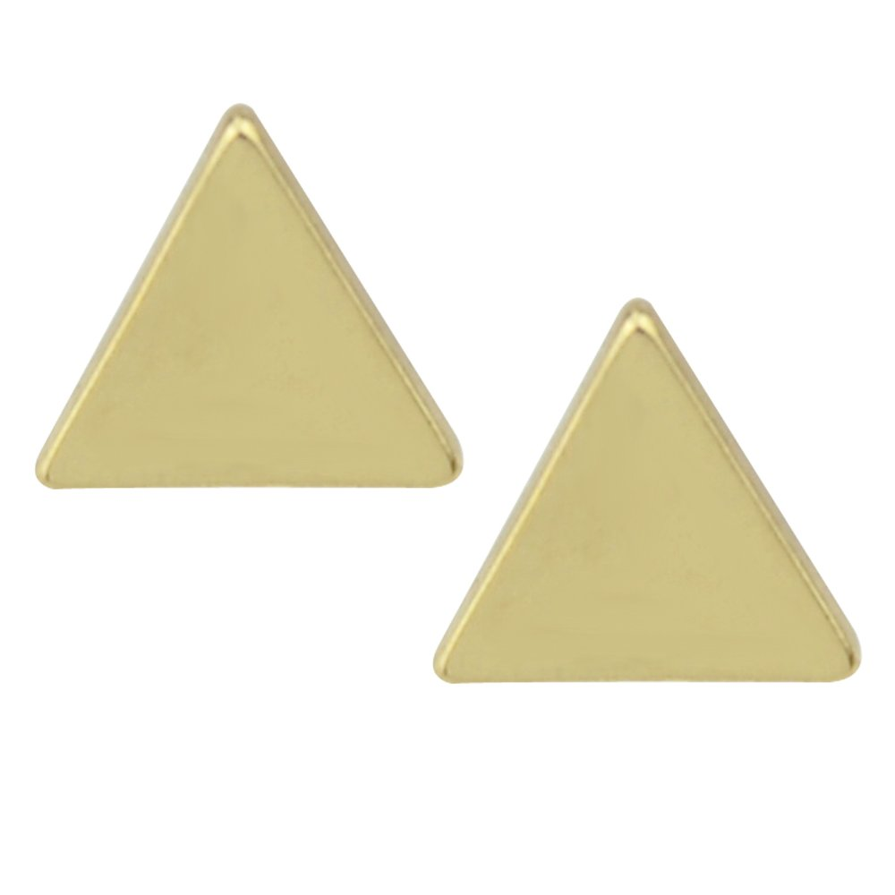 Feelontop® Fashion Simple Black Gold and Silver Plated Triangle Shape Small Stud Earrings with Jewelry Pouch Er-6156-SILVER