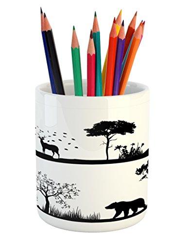 Lunarable Cabin Pencil Pen Holder, Monochrome Landscape Wildlife Theme Natural Habitat with Animal Silhouettes, Printed Ceramic Pencil Pen Holder for Desk Office Accessory, Black and - Holder Cabin Wildlife