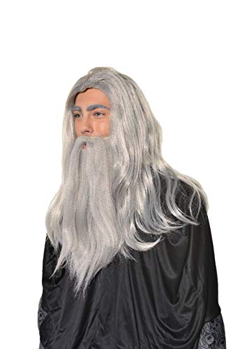 Halloween Cosplay Wizard, Sorcerer, Warlock Merlin Dumbledore Gandalf Style Old Man Wig & Beard Set H0554 Grey -