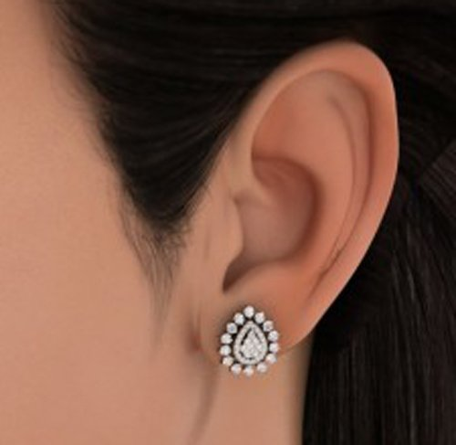 Or jaune 18 K - CT TW White-diamond (IJ | SI) Boucles d'oreille à tige