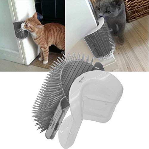 - UPREE Self Groomer with Catnip Pouch,Cat Self Groomer Wall Corner Massage Groomer Cat Self Grooming Brush Gray
