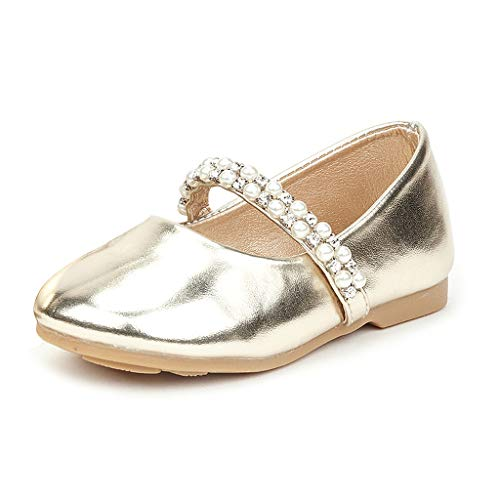 DREAM PAIRS SERENA-100-INF Mary Jane Casual Slip On Ballerina Flat Toddler New Gold Size 6