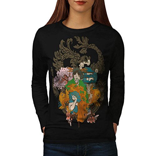 [Horror Geisha Skull Women S Long Sleeve T-shirt | Wellcoda] (Gothic China Doll Costume)