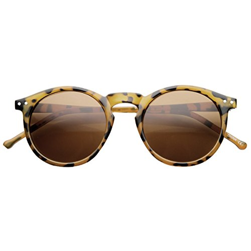 Amber Tortoise Shiny Glass (Retro Horned Rim P3 Keyhole Round Horn Rimmed Sunglasses (Shiny-Tortoise Amber))