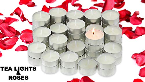 Tea Lights Candles With 200 Silk Rose Petals   Decorative Tea Light Excellent for Weddings, Anniversaries, Birthdays, Church Luminaries, and More   Unscented White Candle Burns 4.5 Hours   100 ()