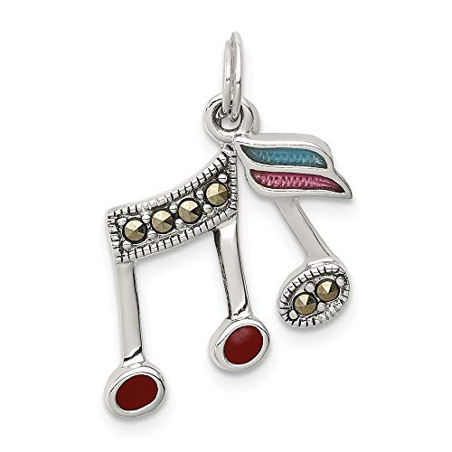 Jewelry Pendants & Charms Themed Charms Sterling Silver Marcasite Music Notes Charm