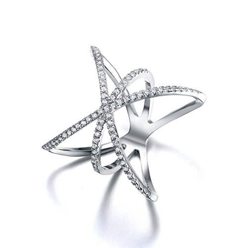 Redbarry Trendy Cross X Shaped Mid Finger Rings with Tiny CZ Paved in 18k White Gold Plated, Size
