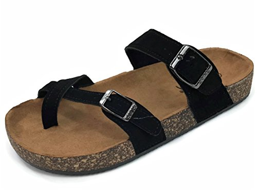 Anna Women's Double Strap Cork Sole Slide Sandal with Buckle, Black-510, 9