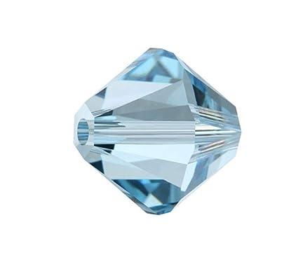 fcfe135a2 Amazon.com: 100pcs 4mm Adabele Austrian Bicone Crystal Beads Aqua Blue  Compatible with Swarovski Crystals Preciosa 5301/5328 SSB410: Everything  Else