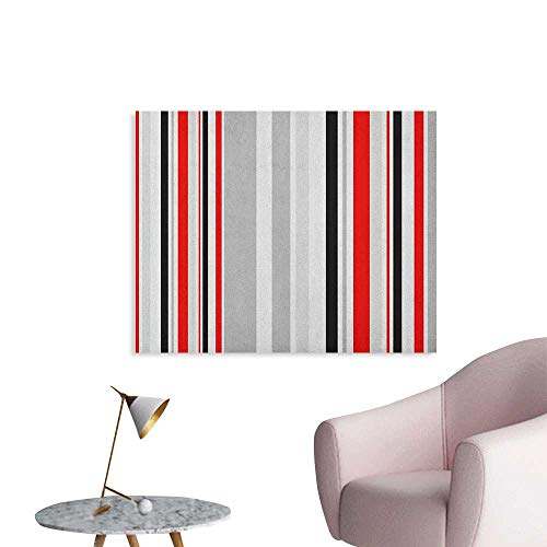 (Anzhutwelve Vintage Wall Sticker Decals Stripes in Different Sizes Retro Style Abstract Lines Old Fashioned Art Poster Pale Grey Vermilion Black W32 xL24)