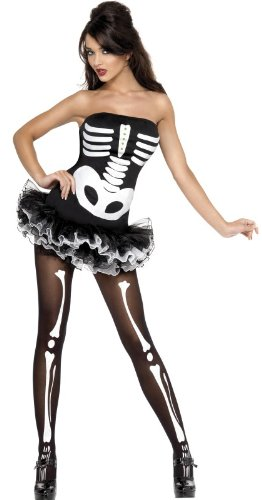 Smiffy's Women's Fever Skeleton Tutu + Free Tight Halloween Fancy Costume Women: UK 16-18 -