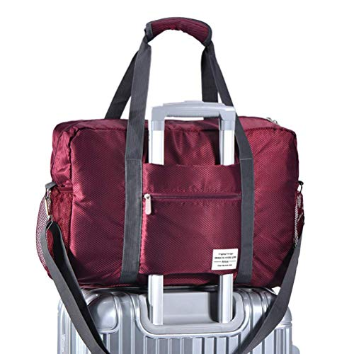 (Arxus Travel Lightweight Waterproof Foldable Storage Carry Luggage Duffle Tote Bag (Wine Red))