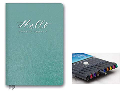 Orange Circle Studio 2020 Leatheresque Medium Weekly Agenda, August 2019 - December 2020, and Comes with Kemah Craft Fineliner 10 Pc Color Pens - Hello Teal Shimmer (Best Pens For Planners 2019)