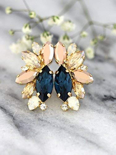 f17337903b07f Amazon.com: Bridal Unique Cluster Earrings, Navy Blue Champagne and ...