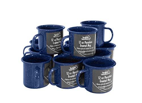Texsport 12 Oz. Blue Enamel Coffee Cup Mug (Set of 12)