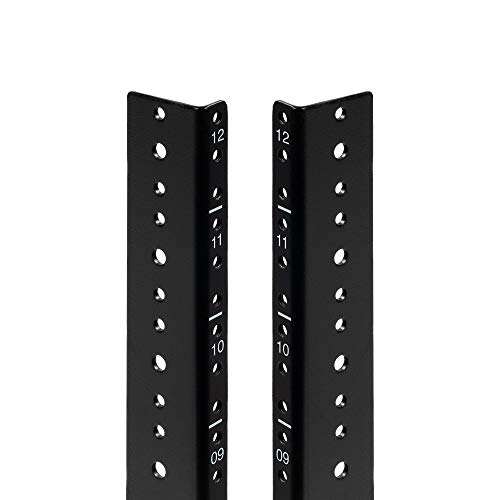 NavePoint 12U Vertical Rack Rail Pair DIY Kit with Hardware, Black