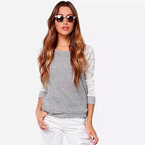 Culater® Femmes Gris dos nu Manches Longues Broderie Dentelle Crochet Shirt Top Blouse