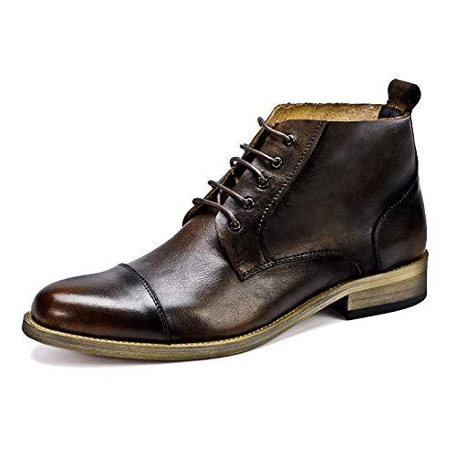 NIUMT Martin Boots Scarpe da Uomo in Pelle Calde Retro Chelsea Boots Casual Traspirante Antiscivolo Coffeecolor
