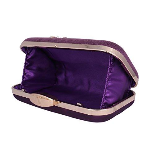 Purse Wedding Clutch Womens Damara Bag Classic Purple Shoulder Embroidered FUqBUwA0g