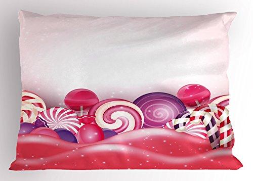 Ambesonne Modern Pillow Sham, Cute Rainbow-Swirl Lollipop Ca