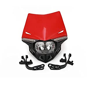 JFG RACING S2 12V 35W Universal Motorcycle Headlight Head Lamp Led Lights For Honda Dirt Pit Bike ATV - Red