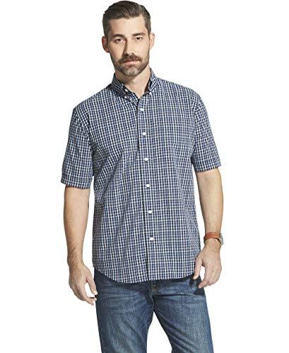 - Arrow 1851 Men's Hamilton Poplins Short Sleeve Button Down Plaid Shirt, Navy Blazer, X-Large