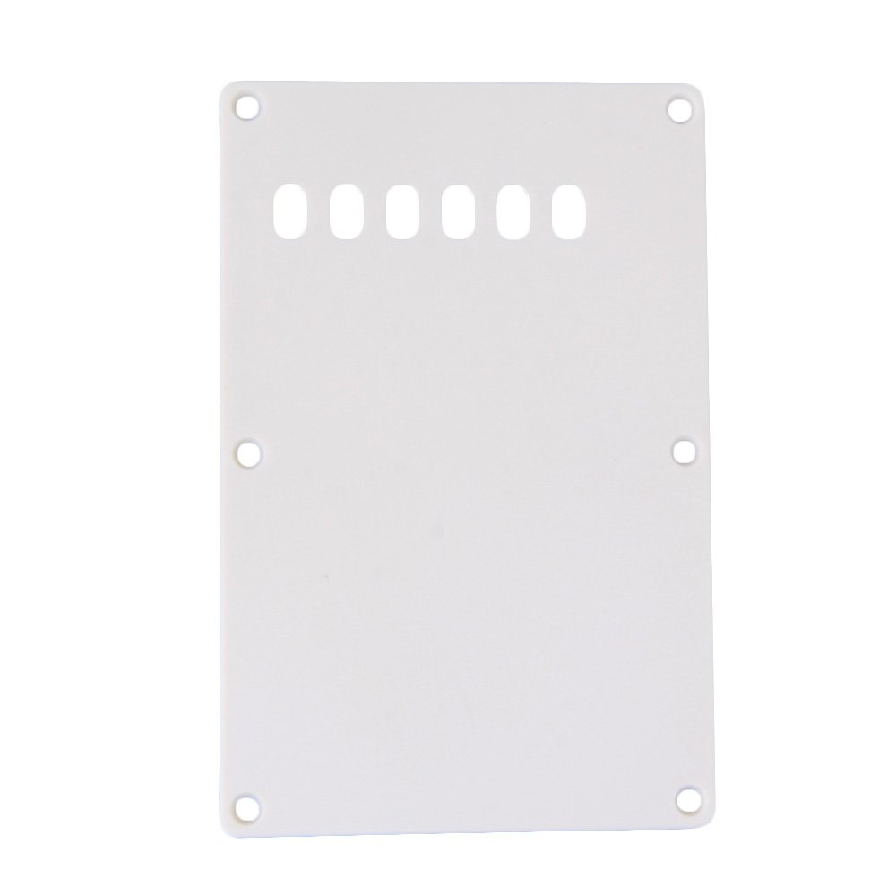 Yibuy White Plastic Electric Guitar Back Plate Tremolo Cavity Cover with 6 Screw Holes for Guitar Replacement