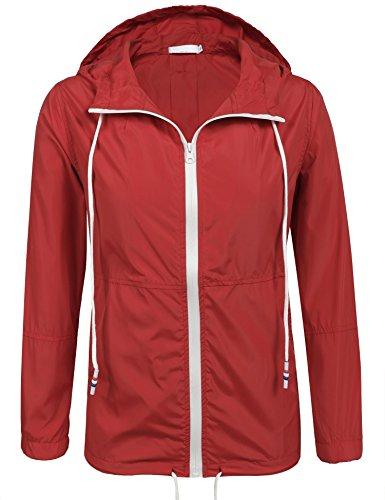 SoTeer Women's Sun Protect Outdoor Jacket Quick Dry Windproof Waterproof Coat (Red M)