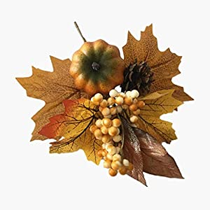 Merryoung Artificial Pumpkin Bouquet with Maple Leaves Berry Pinecones Decoration for Fall Display Wedding Party Holiday Miniature Garden Venue Decoration Craft DIY Pack of 1 3